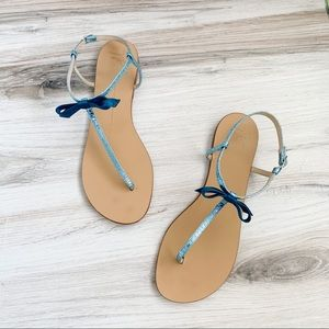 Giuseppe Zanotti Blue Metallic Bow Flat Sandals